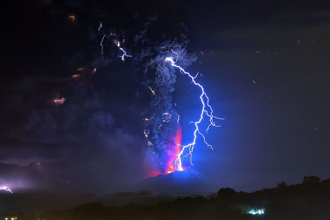 Lightning strikes the Cabulco volcano in Chile