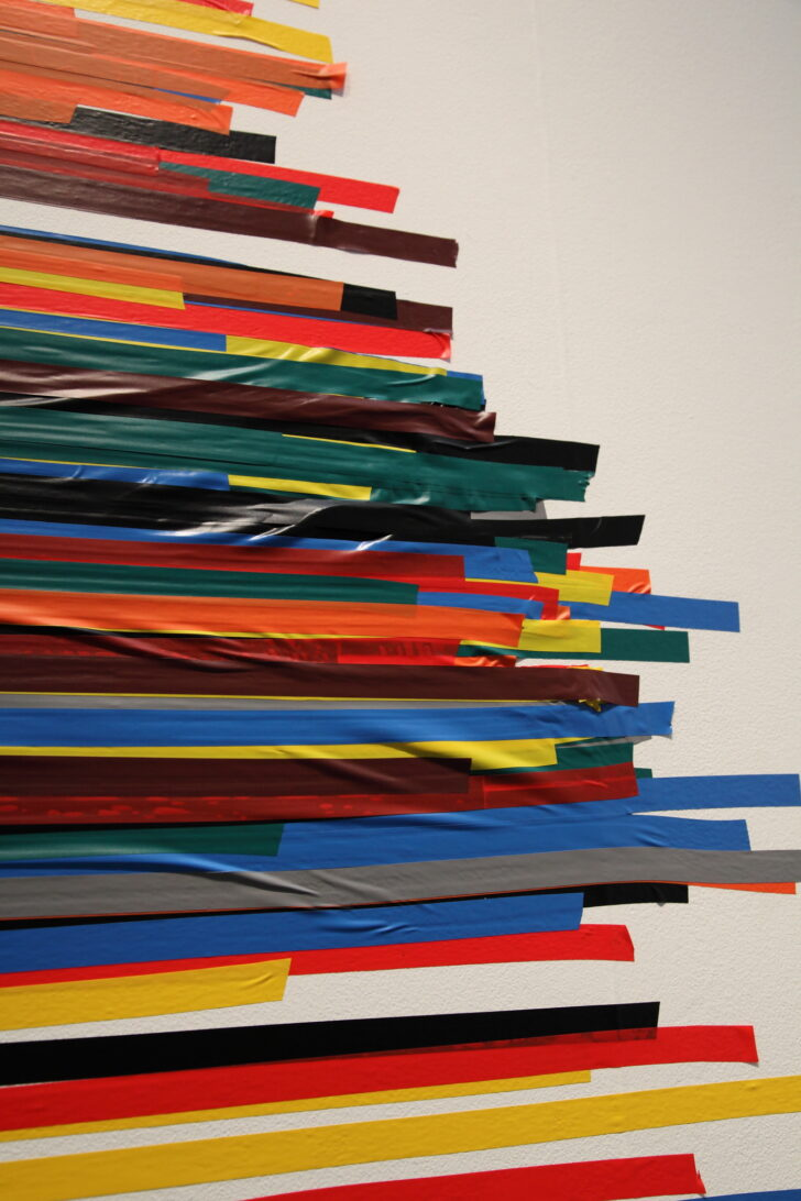 coloured electrical tape overlaping in different colours