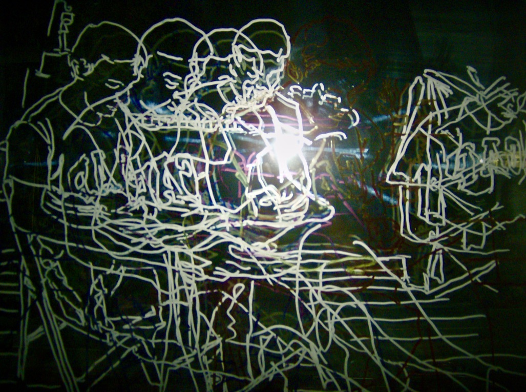 multiple overlapping line drawing of a sitting figure illuminated by camera flash.